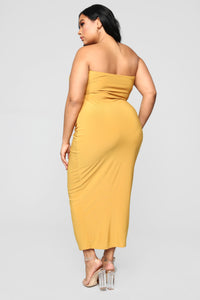 Open To It Midi Dress - Mustard Angle 9