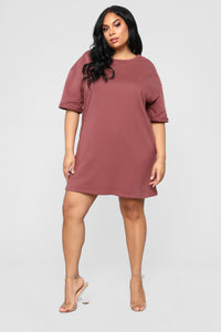 What A Girl Wants T Shirt Dress - Red Brown Angle 6