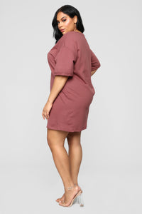 What A Girl Wants T Shirt Dress - Red Brown Angle 8