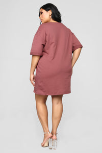 What A Girl Wants T Shirt Dress - Red Brown Angle 9