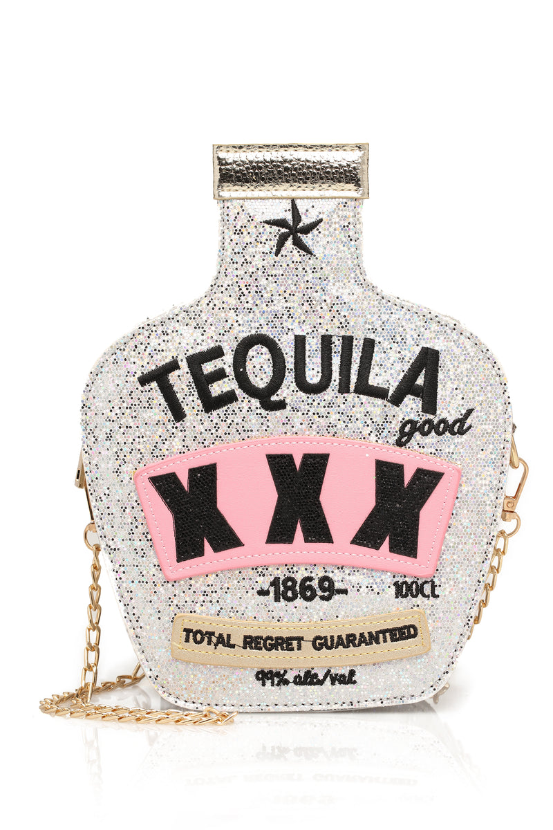 """Tequila Wasted"" Crossbody - Silver"