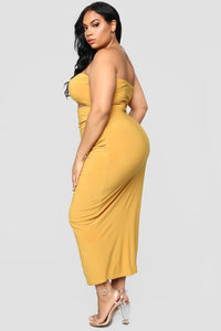 Open To It Midi Dress - Mustard Angle 8