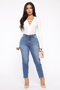Love My Lace Up Sweater - White Angle 2