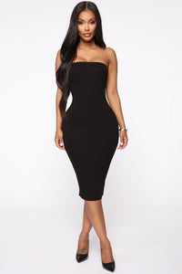 Take It Easy Tube Midi Dress - Black Angle 1