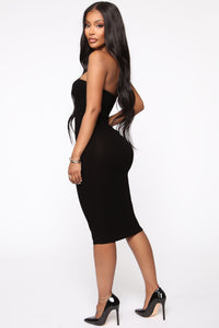 Take It Easy Tube Midi Dress - Black Angle 3