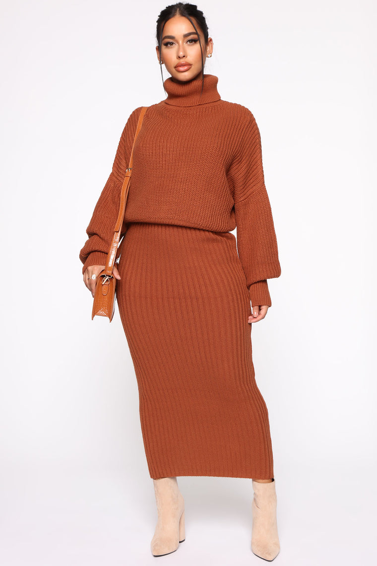 Helena Sweater Set   Cognac by Fashion Nova