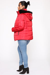 Layer It On Me Puffer Jacket - Red