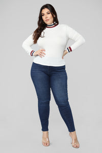 Pop Of Color Long Sleeve Top - White Angle 7