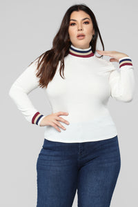 Pop Of Color Long Sleeve Top - White Angle 1