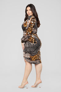 Out In The Jungle Dress - Brown