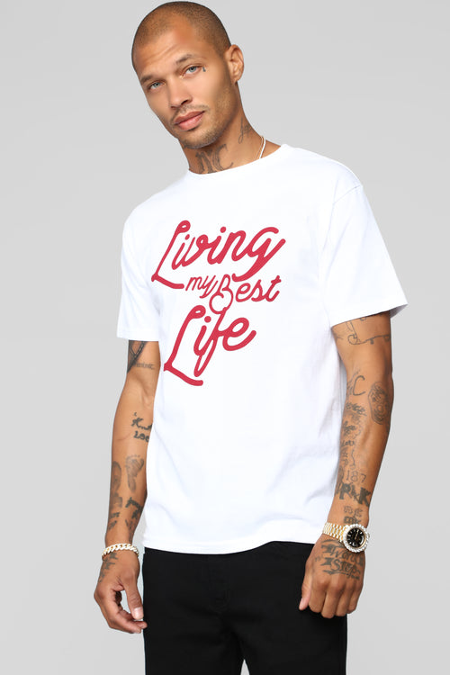 Living My Best Life Short Sleeve Tee - White