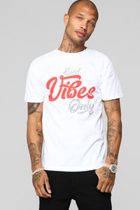 Good Vibes Only Short Sleeve Tee - White Angle 1