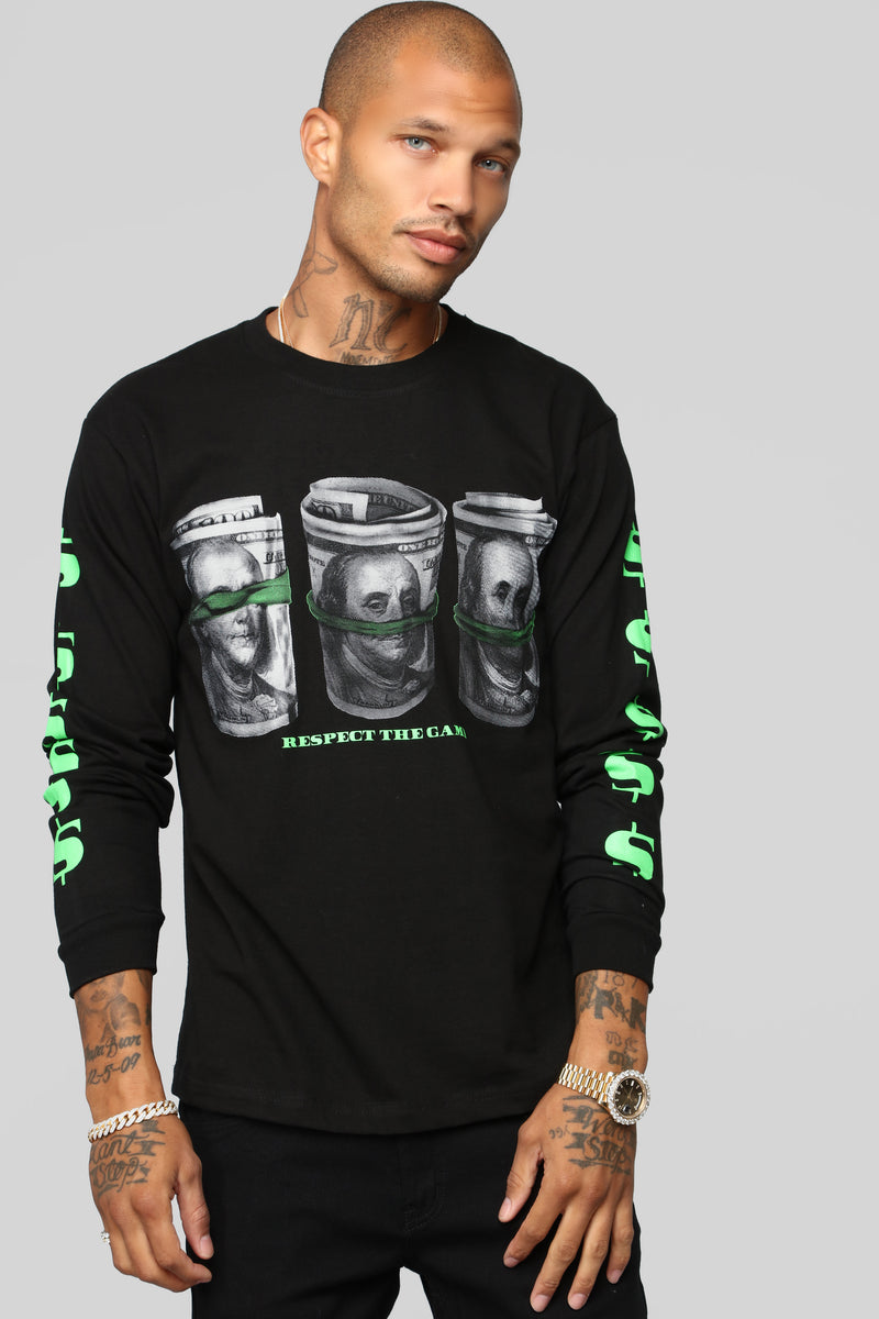 All I See Is Dollar Signs Long Sleeve Tee - Black