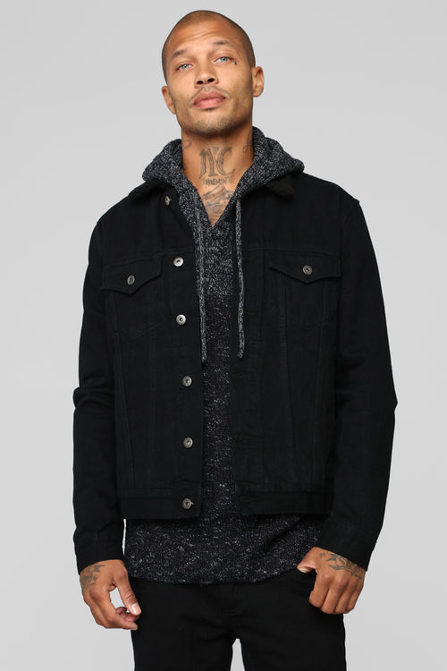 Jonathan Sherpa Denim Jacket - Black