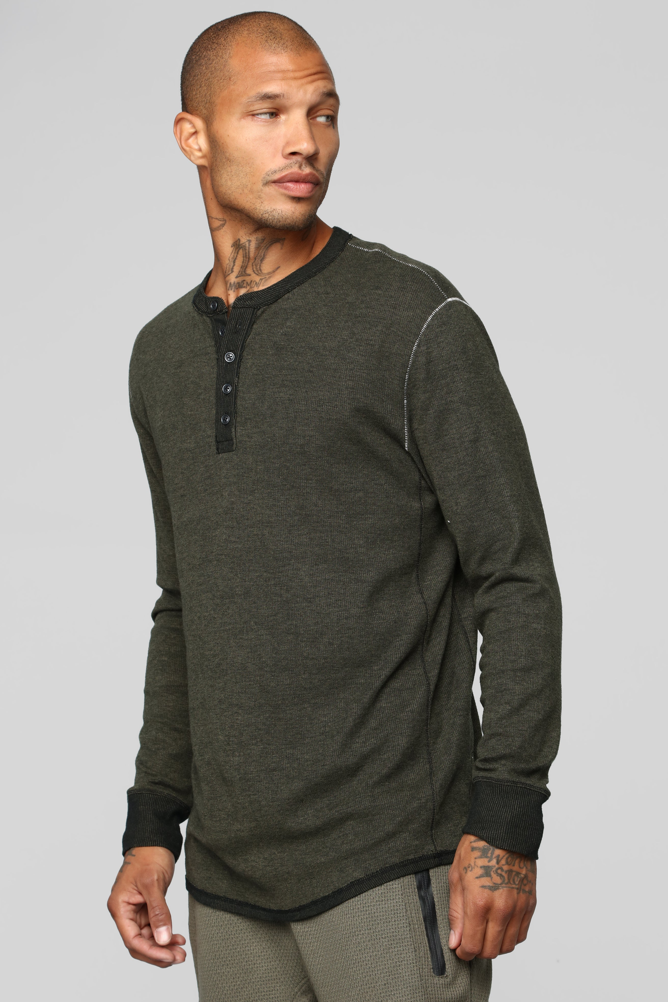 Rhodes Long Sleeve Knit Top Olive