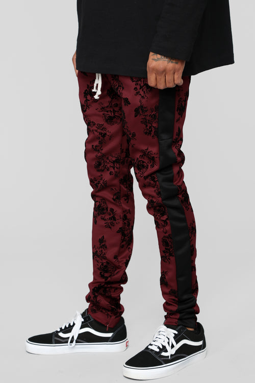 Petal To The Metal Track Pants - Burgundy