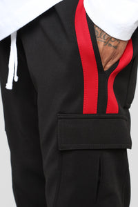 Post Cargo Track Pants - Black/Red Angle 7