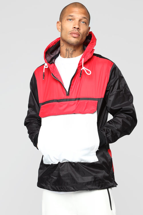 Colorblock Windbreaker Jacket - Black/Combo