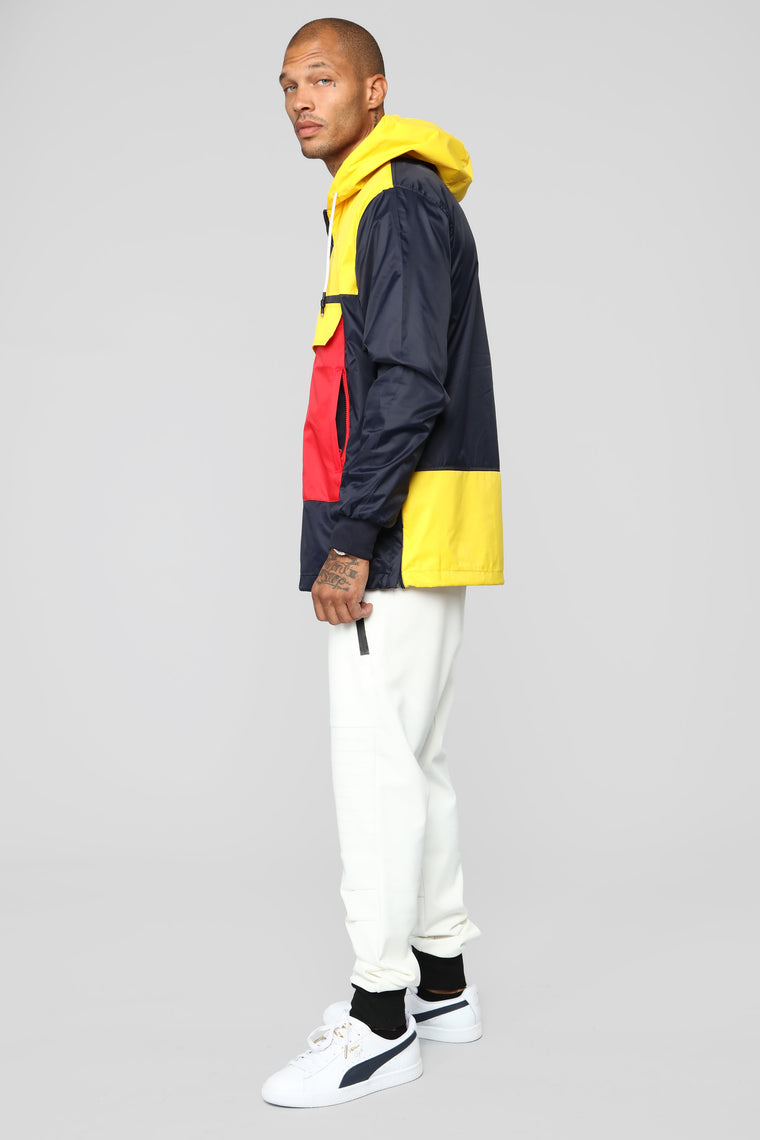 Colorblock Windbreaker Jacket - Navy/Combo