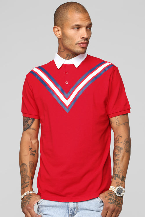 Champ Short Sleeve Polo - Red/Combo