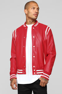 The Rookie Varsity Jacket - Red Angle 1