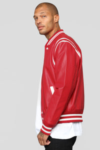 The Rookie Varsity Jacket - Red Angle 3