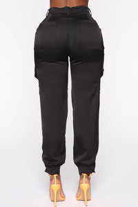 Satin Cover High Rise Joggers - Black