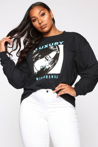 Luxury Withdrawals Long Sleeve Top - Black