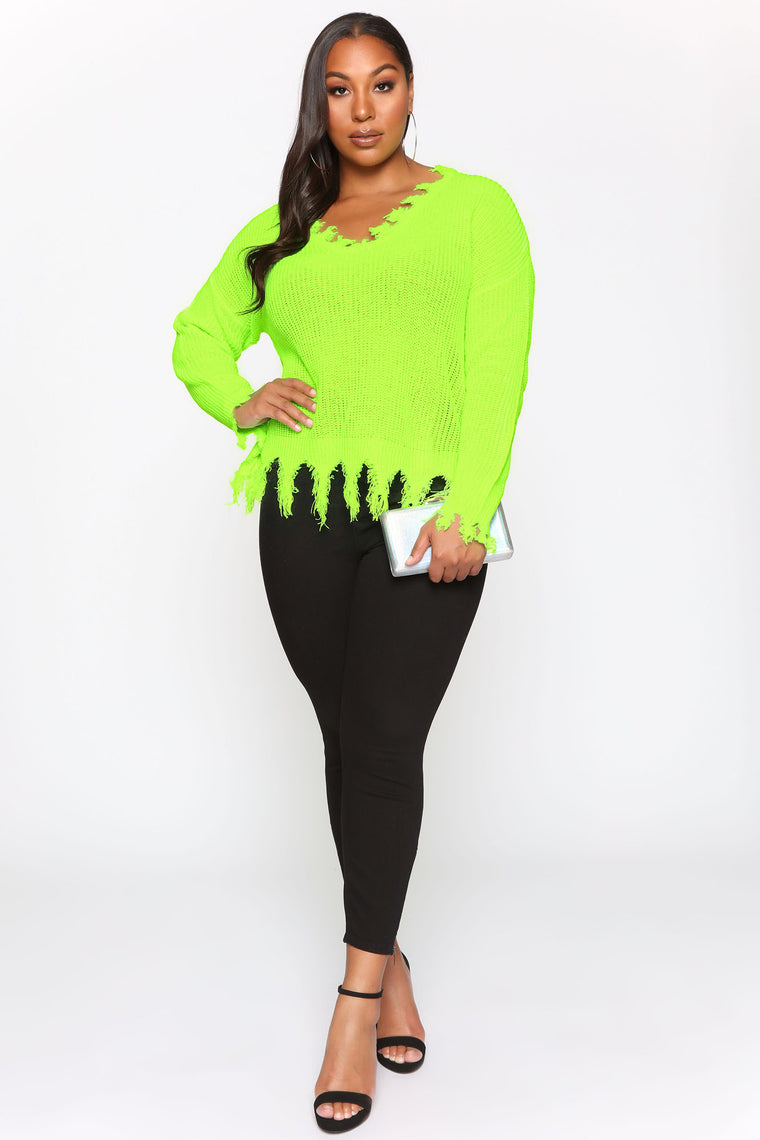 Cuttin' You Off Sweater - Neon Lime