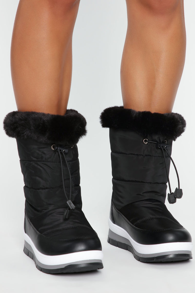 Baby It's Cold Flat Boots   Black by Fashion Nova