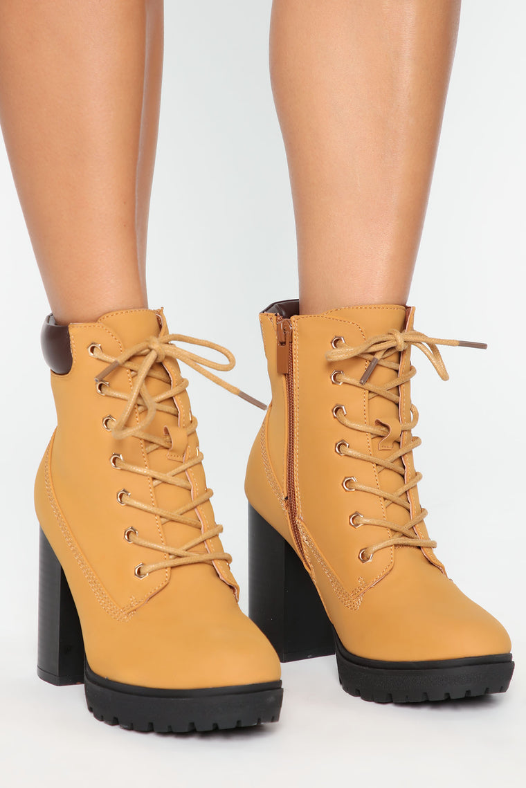 Hear Me Out Booties   Camel by Fashion Nova
