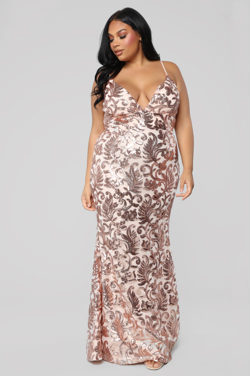 The Golden Age Sequin Gown - Rose Gold
