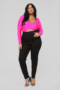Cutting To The Chase Long Sleeve Bodysuit - Fuchsia Angle 9