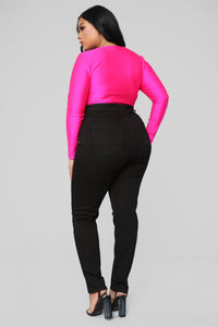 Cutting To The Chase Long Sleeve Bodysuit - Fuchsia Angle 12