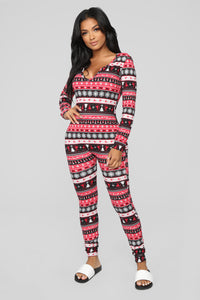 Baby It's Cold Outside PJ Onesie - Red/combo