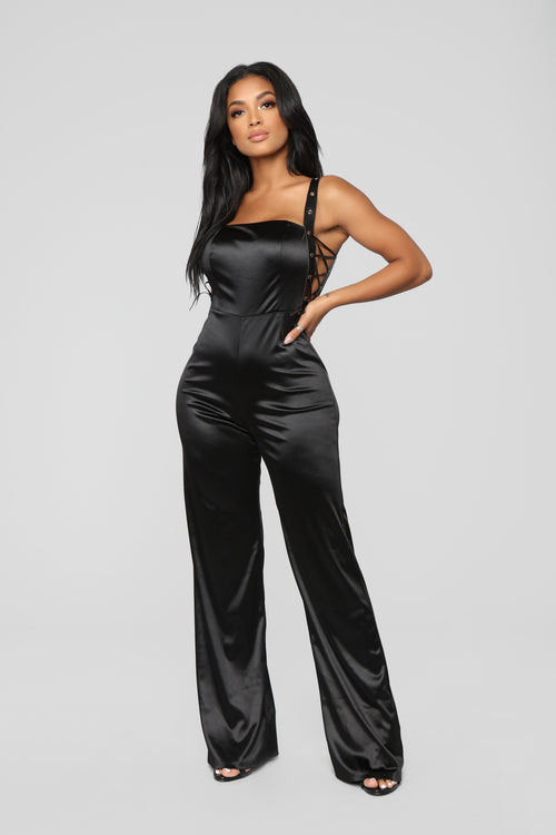 Strut And Glitter Jumpsuit - Black