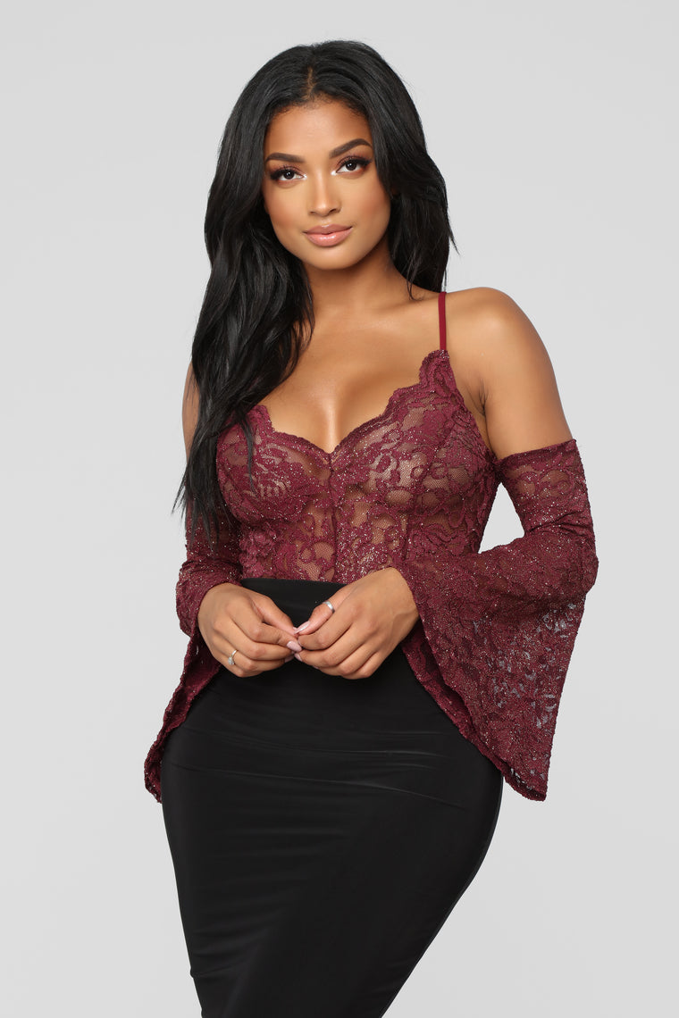 Living In Lace Bodysuit - Plum