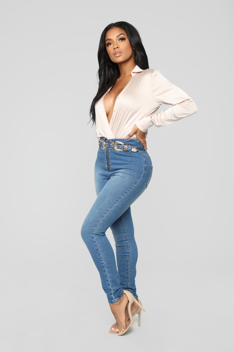 Seeing Double High Rise Skinny Jeans - Medium Blue Wash
