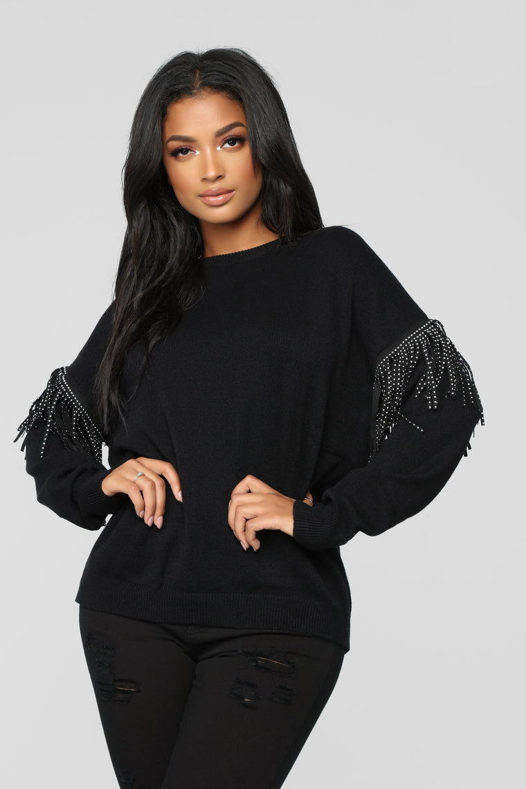 Studded Fringe Sweater - Black