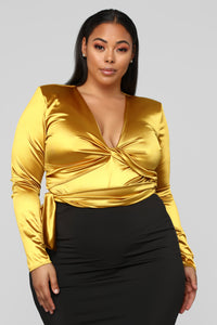 Twenty Fun Satin Bodysuit - Mustard