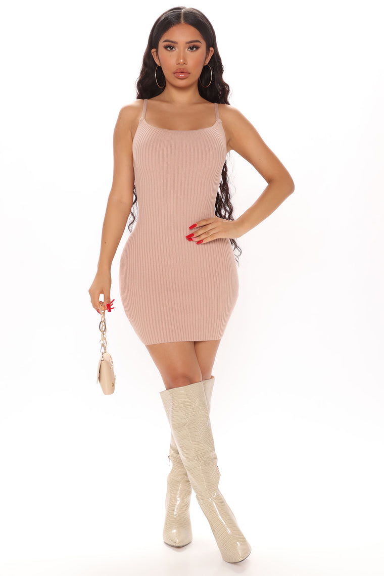 Salina Sweater Mini Dress - Taupe