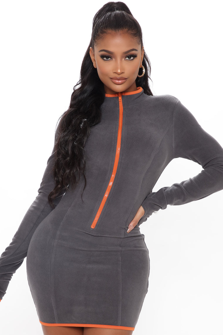Meet Me Anywhere Fleece Mini Dress - Charcoal