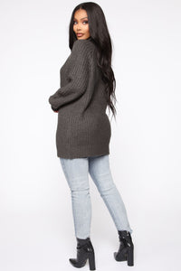 Keeping It Real Cozy Sweater - Charcoal Angle 5