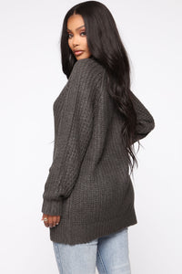 Keeping It Real Cozy Sweater - Charcoal Angle 3