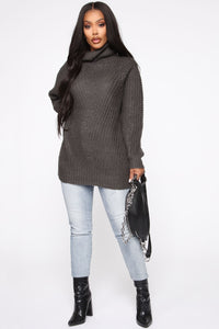Keeping It Real Cozy Sweater - Charcoal Angle 2