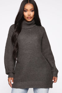 Keeping It Real Cozy Sweater - Charcoal Angle 1