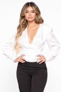All The Right Places Surplice Top - Ivory Angle 1