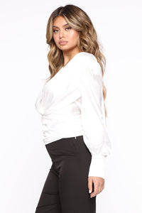 All The Right Places Surplice Top - Ivory Angle 3