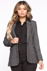 Keeping Out Of It Blazer - Black