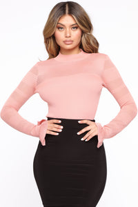 Kiss Me Softly Ribbed Sweater - Rose Angle 1